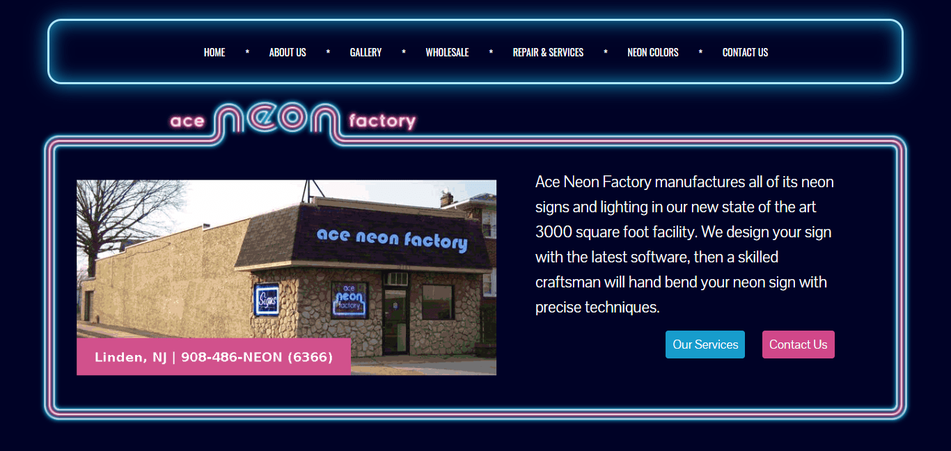 Ace Neon Factory homepage image